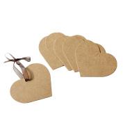 Kangkang@ 100 PCS DIY Heart Shape Hang Tag Wedding Brown Kraft Paper Gift Tag Lolly Bag Bonbonniere Favour Gift Tags
