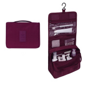 EtechMart Hanging Cosmetic Makeup Bag Carry Case Travel Kit Wine Red