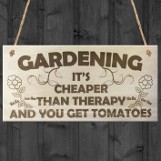 Gardening It's Cheaper Than Therapy And You Get Tomatoes Novelty Wooden Plaque