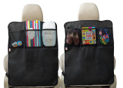 Kick Mats - 2 Pack - Car Seat Back Protector - Storage Organiser Pockets By Baby Caboodle