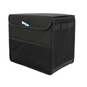 IntiPal Car Trunk Storage Organiser Box - Black Tidy Collapsible Foldable Storage Bag with Straps for Cars SUVs Trucks