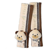Auto Car Cute Bear Seat Belt Cover Strap Covers Plush Seat Shoulder Pad Cushion 2 Pcs One Pair for Kids and Babies