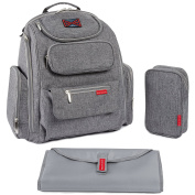 Bag Nation Nappy Bag Backpack with Stroller Straps, Changing Pad and Sundry Bag - Grey