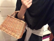 Natural Hand-woven Rectangular Wicker Handbag Retro Summer Women Straw Tote