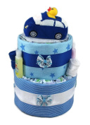 Sunshine Gift Baskets - Blue Nappy Cake Gift Set with a Blue Car