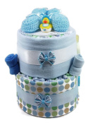 Sunshine Gift Baskets - Blue Nappy Cake Gift Set with Blue Booties