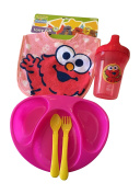 Cute Elmo Baby Bib, Sippy Cup, Divided Plate, Spoon Gift Bundle