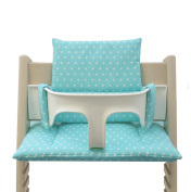 Blausberg Baby - Cushion Set for Tripp Trapp High Chair of Stokke - Turquoise Stars