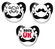 Ulubulu Classic Expression Pacifier - 0-6 Months - 3 Pack - Rock On