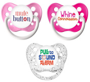Ulubulu Classic Expression Pacifier - 6-18 Months - 3 Pack - Shhhhh!