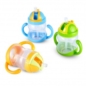 Children Drinking Water Cup PP Leakproof Portable Soft Straw Calabash Shaped with Non-slip Handle 280mL
