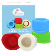 Travel Caps for Narrow Neck Bottles - Baby and Toddler Silicone Bottle Lids with Straw Insert for Water Bottles, Tumblers, Baby Bottles