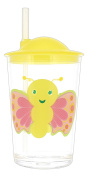 Tar Hong 10cm Childrens Melamine Butterfly Print Cup with Straw