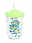 Tar Hong 10cm Childrens Melamine Monkey Print Cup with Straw