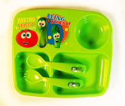 VeggieTales Plastic Children's Three Section Plate with Easy Grip Fork and Spoon