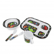 Hugger 6-piece Dinnerware Eating utensils for Babies Plate Bowl Sippy Cup with Lid Fork and Spoon (giraffe)