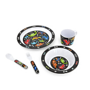 Hugger 5-piece Dinnerware Eating utensils for Babies Plate Bowl Cup Fork and Spoon