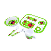 Hugger 6-piece Dinnerware Eating utensils for Babies Plate Bowl Sippy Cup with Lid Fork and Sppon