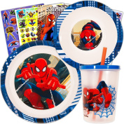 Marvel Spiderman Toddler Dinnerware Set - Plate, Bowl, Tumbler Cup, Stickers