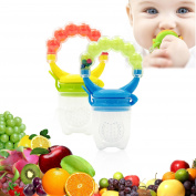 Baby Fresh Food Feeder Nibbler Fruit Pacifier Ringing Teething Toy with Handgrip 2PCS for 6-12 Months Baby Boy and Girl