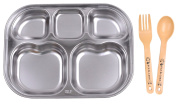 Nature In Hand Rectangle Stainless Steel 5 Compartments Divided Kids & Baby Tray with Fork and Spoon SET