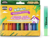 Pack of 10 Art Frenzy Glitter Glue - Washable Glitter Pens - 10 Different Blazing Colours - Non-Toxic - by Utopia Home