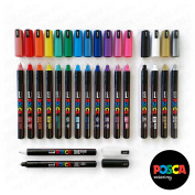 Posca PC-1MR 18 Pen Set - In Limited Edition Plastic Wallet - Extra Black and White