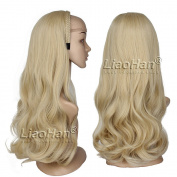 Long Wavy Honey Blonde Wig Fall Natural Layered Half Head Wig 3/4 Weave Blonde Hair Fall