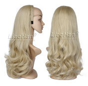 Long Wavy Dirty Blonde Wig Fall with Headband 3/4 Wig Hairpiece Natural Layered Half Head Wig for Women