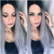YongerBeauty Long Straight Lace Front Wig Dark Roots Ombre Grey Synthetic Wig Heat Resistant Fibre Hair Lace Wig for Women