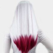 """V""""NICE White Ombre Dark Pink Synthetic Lace Front Wig Straight Heat Resistant Fibres Glueless Wigs"""
