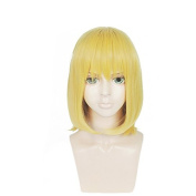 Anogol Hair Cap+Short Cosplay Wig Straight Golden Synthetic Women's Hair Halleween Wigs Costume