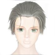 Anogol Hair Cap+Ash Grey Cosplay Wig Short Straight Hair Halleween Wigs Fancy Dress Costume