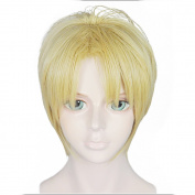 Anogol Hair Cap+Golden Cosplay Wig Short Straight Halleween Wigs Synthetic Hair Costume