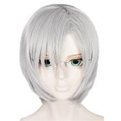 Anogol Hair Cap+Silver Grey Cosplay Wig Halleween Wigs Short Straight Hair Costume