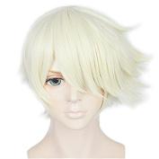 Anogol Hair Cap+Cosplay Wig Halleween Wigs Blonde Short Wavy Women Hair Costume