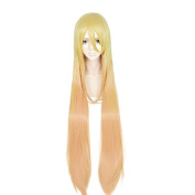 Anogol Hair Cap+Synthetic Cosplay Wig Yellow Ombre Orange Long Straight Women Hair Halleween Wigs