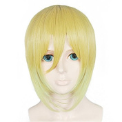Anogol Hair Cap+Short Straight Cosplay Wig Ombre Yellow Gilr Hair Halleween Wigs Costume