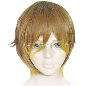 Anogol Hair Cap+Ombre Brown Cosplay Wig Fancy Dress Short Straight Hair Halleween Wigs Kid Costume
