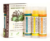 Herb Garden Lip Balm Set - All Natural - Includes 3 Herb Flavours