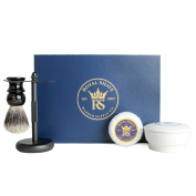 RoyalShave Everyday Shaving Set- Brush Stand, Badger Brush, Shave Soap in Ceramic Bowl