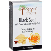 Roots and Fruits Bar Soap - Black Soap - Cocoa Butter and Orange Peel - 150ml -