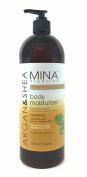 Argan and Shea Body Moisturiser 980ml Litre (Paraben FREE) with Pump by Mina Organics. Factory Fresh!