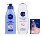 Bundle of Nivea Care & Illuminate Body Wash, Shea Butter Lotion & Shimmer Lip Care (3 items)