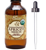 US Organic Apricot Kernel Oil, USDA Certified Organic,100% Pure & Natural, Cold Pressed Virgin, Unrefined in Amber Glass Bottle w/ Glass Eyedropper for Easy Application (4 oz