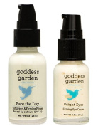 Goddess Garden Bright Eyes Firming Eye Cream and Face the Day Sunscreen & Firming Primer with Mango Seed Butter, Jojoba Seed Oil, Black Elder Flower Extract and Immortelle Oil, 15ml and 30ml