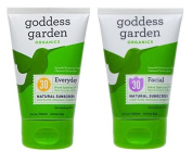 Goddess Garden Facial Natural Sunscreen and Everyday Natural Sunscreen Lotion with Aloe Vera, Shea Butter, Safflower Seed Oil, Lavender Oil, Immortelle Oil and Vitamin E, 100ml each