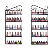FLYMEI Wall Mounted 5 Tiers Nail Polish Rack Holder, Metal Nail Polish Shelf Rack Organiser, Great for Home Salon Business Spa
