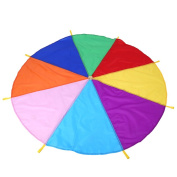 Rainbow Parachute Kids Toy Multicoloured Play Tent With 8 Handles Schoolkids Children Outdoor Teamwork Exercise Game 2 Metres