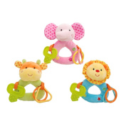 Linzy Plush Animals Rattle with Ring O' Links and Tether Set (3 Piece), Multi Colour, 15cm